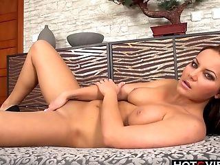 Brunette, European, Long Hair, Masturbation, Model, Natural Tits, Solo,