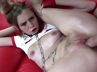 Blonde, Blowjob, Boobless, Brutal, Chained, Couch, Cowgirl, Cum In Mouth, Cumshot, Deepthroat,