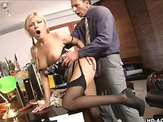 Blonde, Glasses, Missionary, Nylon, Office, Pornstar, Stockings,