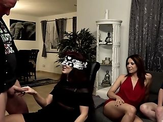 Amateur, Blindfold, Blowjob, Brunette, Couch, Cum In Mouth, Deepthroat, Dick, Doggystyle, Homemade,