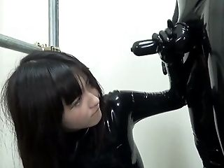 Asian, Babe, Blowjob, Catsuit, Dick, Dressed, Ethnic, HD, Latex, Master,