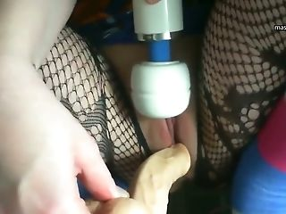 Close Up, Fishnet, Huge Clit, Vibrator,