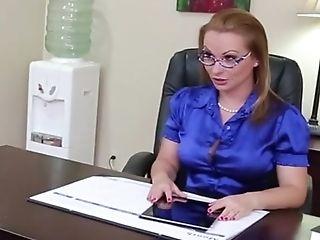 Blonde, Desk, Katja Kassin, Licking, Lingerie, MILF, Office, Secretary, Stockings, White,