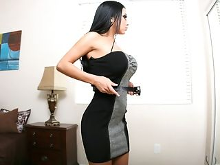 Audrey Bitoni, Big Tits, Brunette, Clothed Sex, Couch, Dick, Dress, Riding, Undressing,
