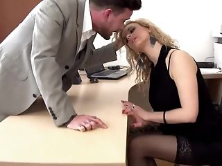 Abuse, Babe, Blonde, Blowjob, Deepthroat, Desk, European, Lingerie, Office, Rough,