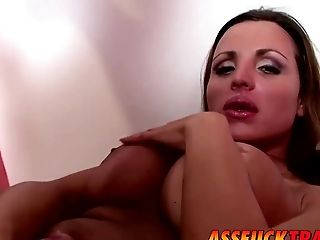 Ass, Blowjob, Couch, Cute, Guy Fucks Shemale, HD, Horny, Tranny,